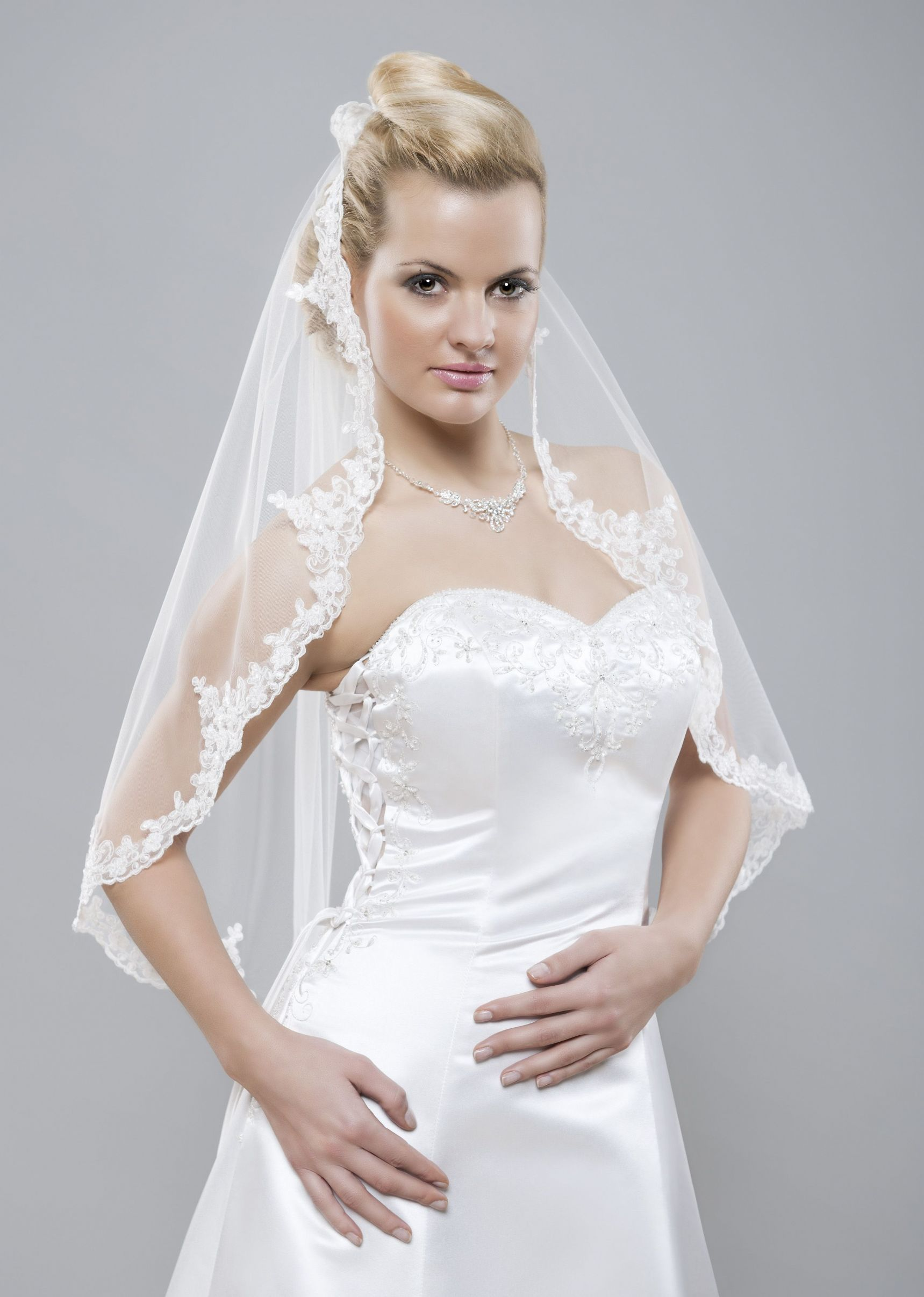 bridal veil Choose from traditional two-tiered veils to romantic single tier veils with lace trim to modern, edgy raw edge veils update a classic gown with a lovely beaded wedding veil or use a understated veil to add a touch of elegance to an ornate wedding gown.