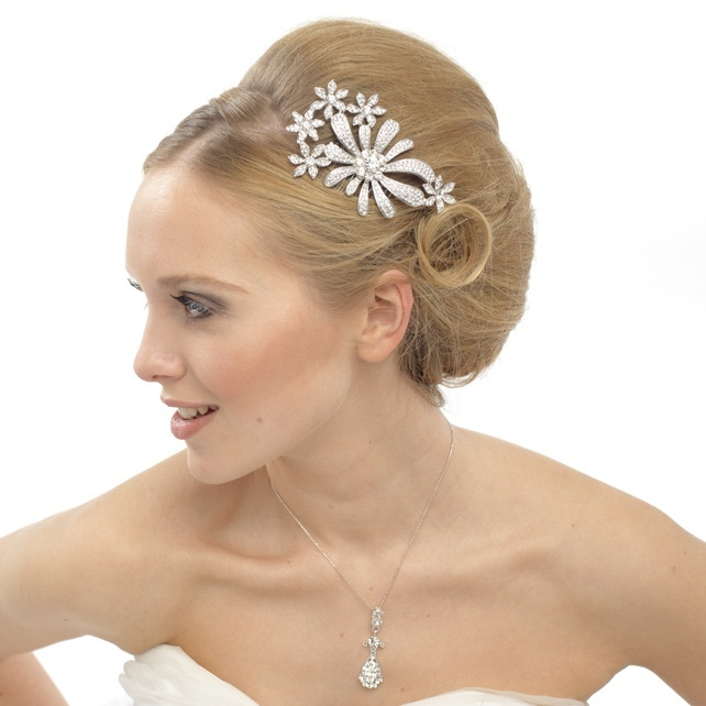 This glamarous hairstyle compliments the crystal hair comb