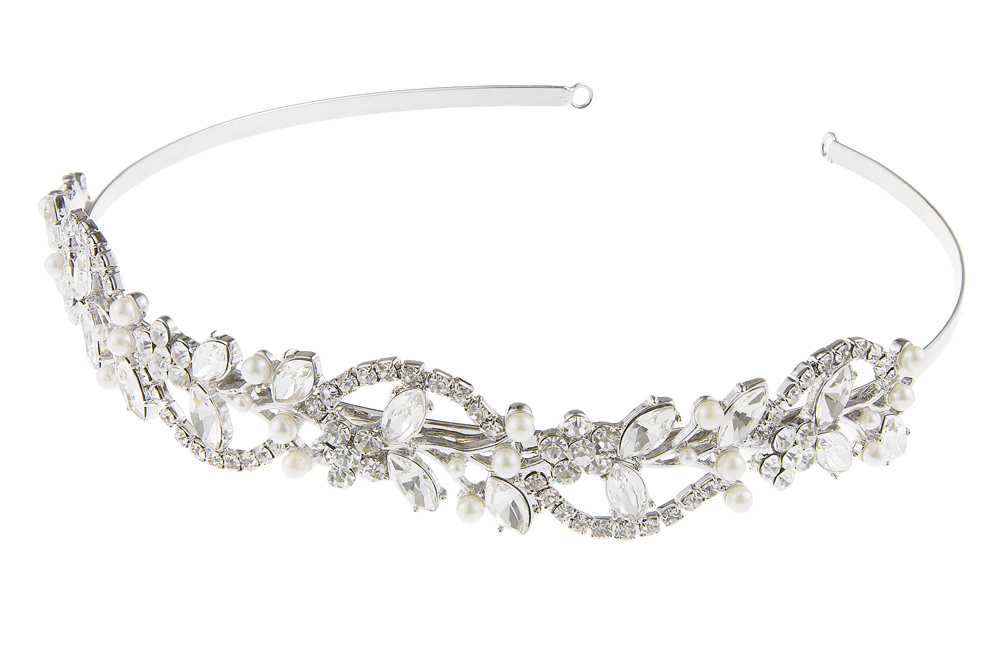 crystal and pearl bridal headband, wedding tiara