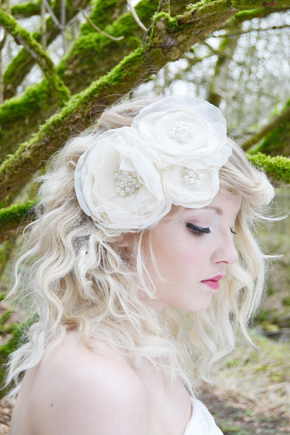 bridal hair flower, wedding headpiece