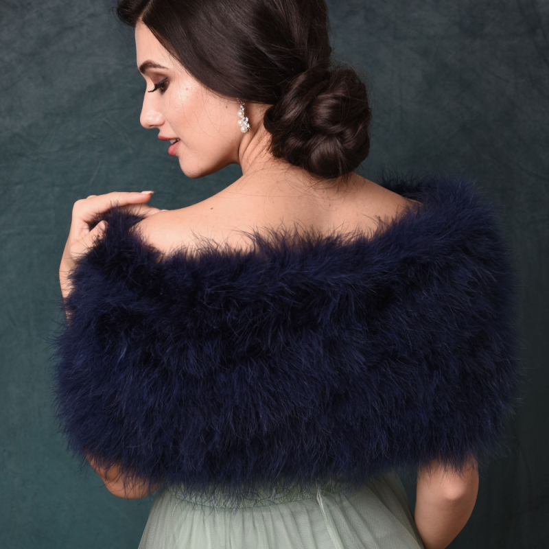 blue bridal shrug, blue feather wedding wrap