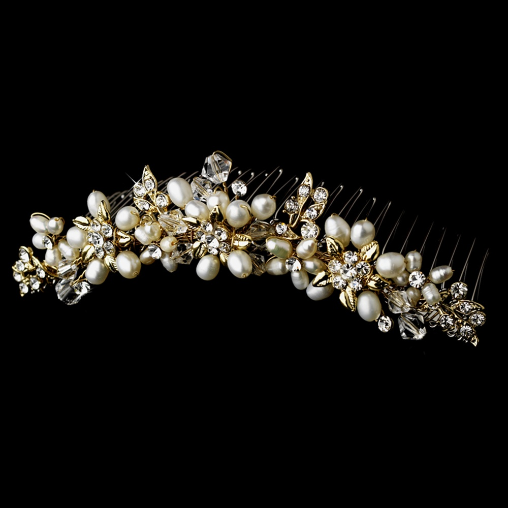 Crystal and Pearl Tiara Hair Comb - Gold bridal comb