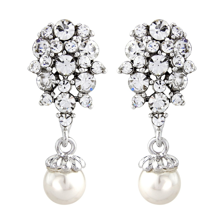 evie vintage pearl drop bridal earrings pearl earrings