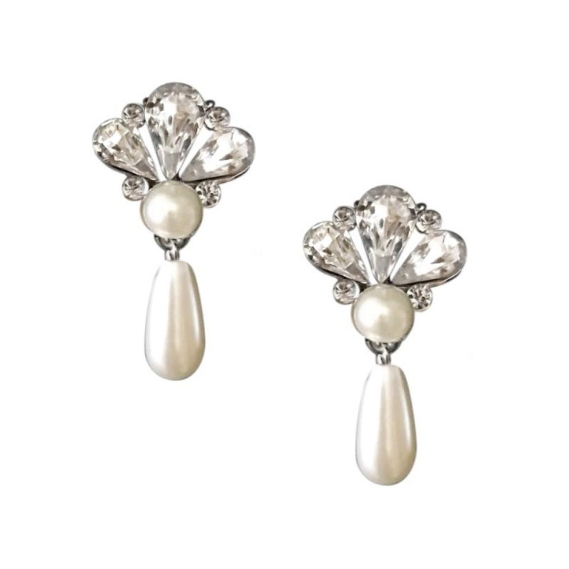 Vintage style pearl bridal drop earrings, wedding earrings