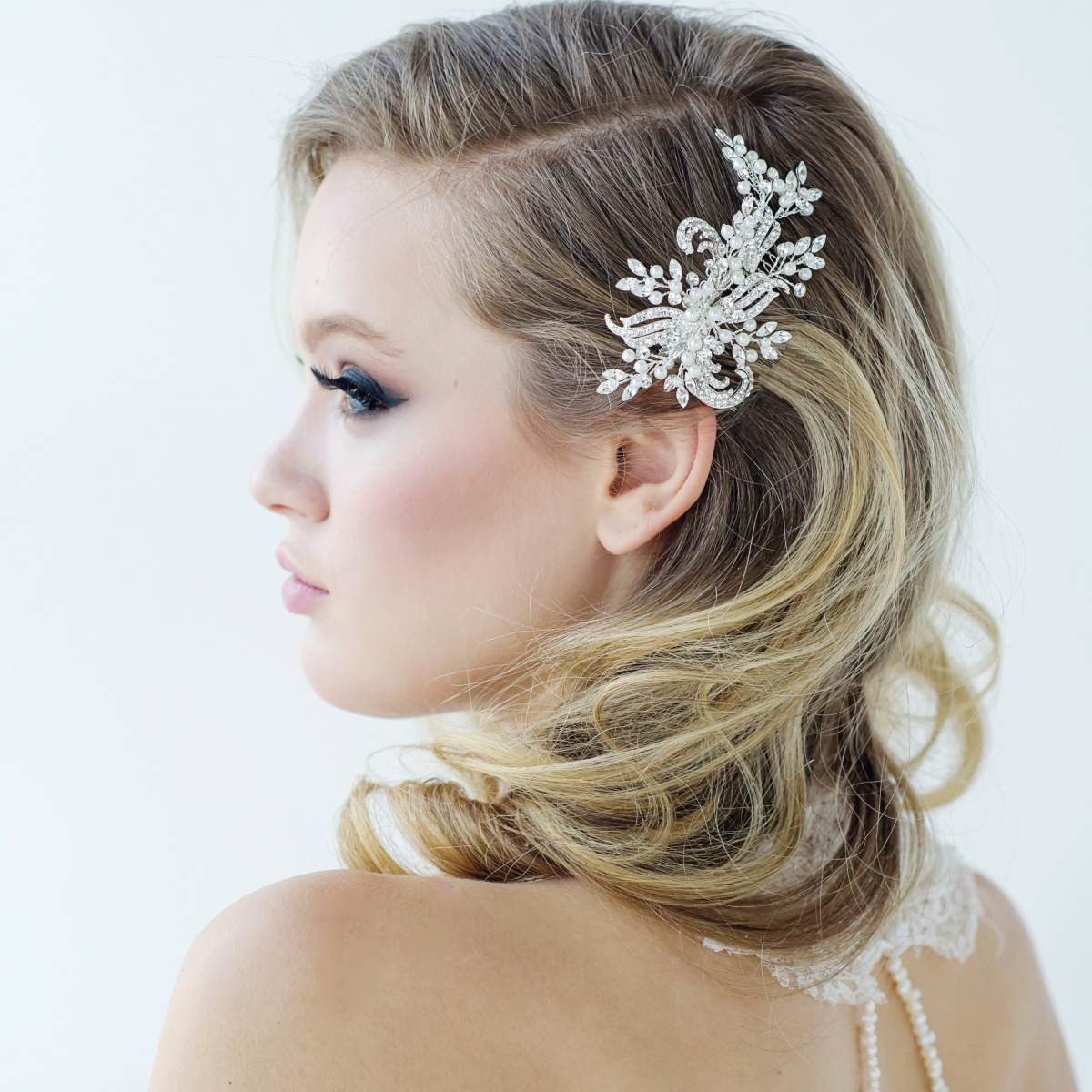 pearl bridal hair comb, crystal wedding hair comb