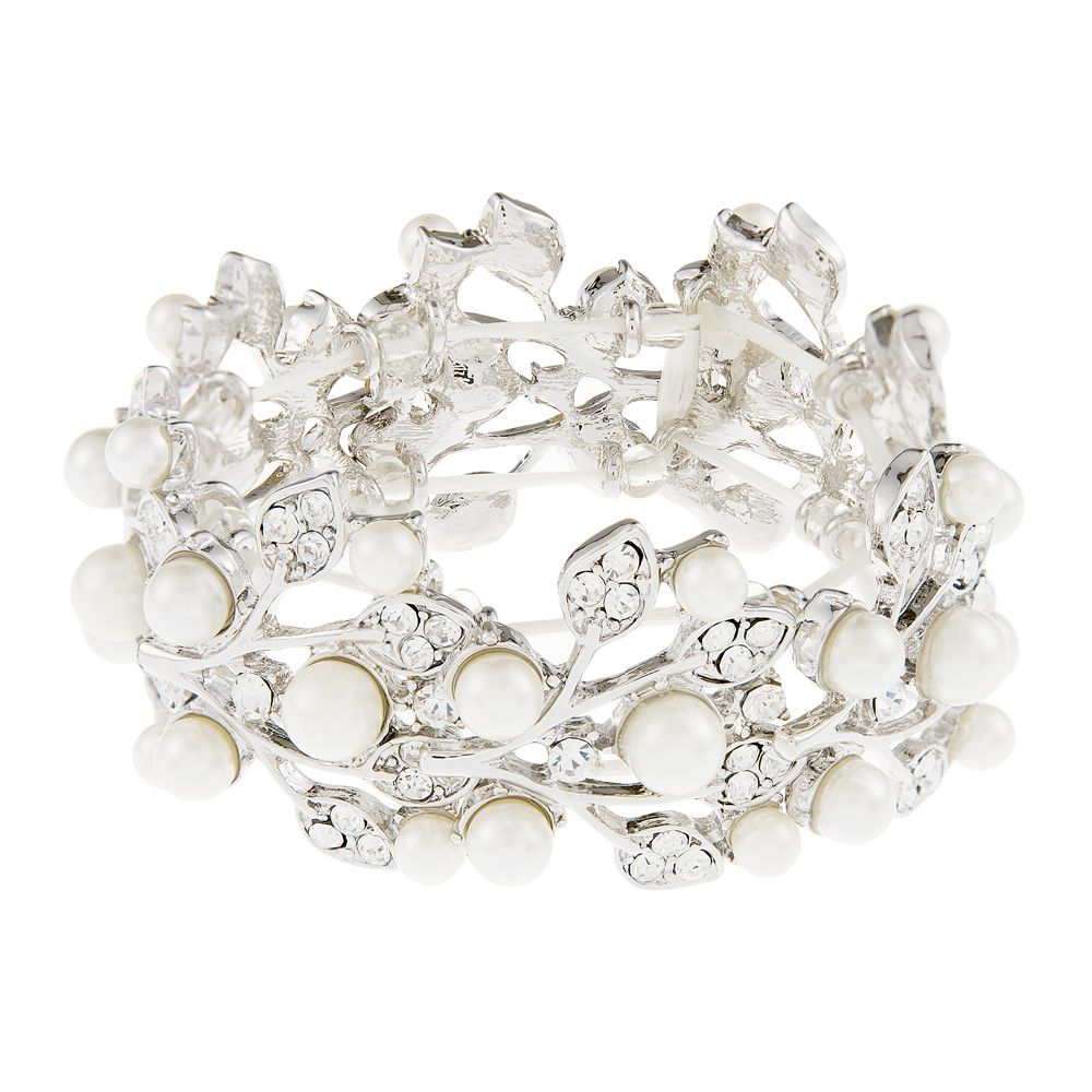 Amelia Pearl and Crystal Wedding Bracelet, Crysal Bridal Bracelet