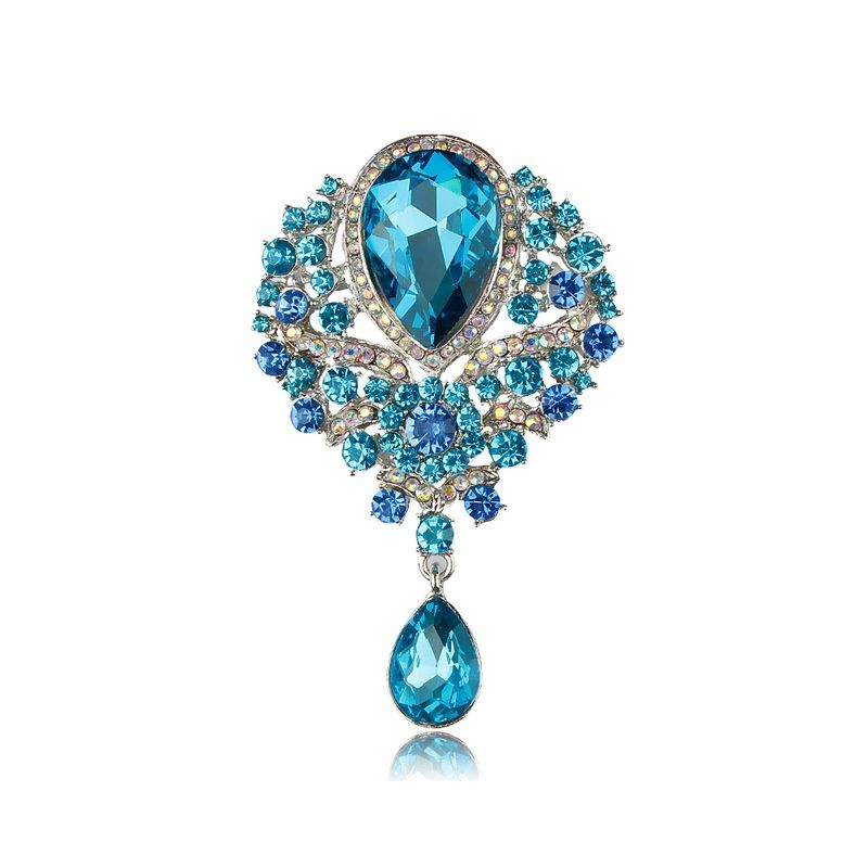 Aqua Blue Crystal vintage inspired  brooch, something blue