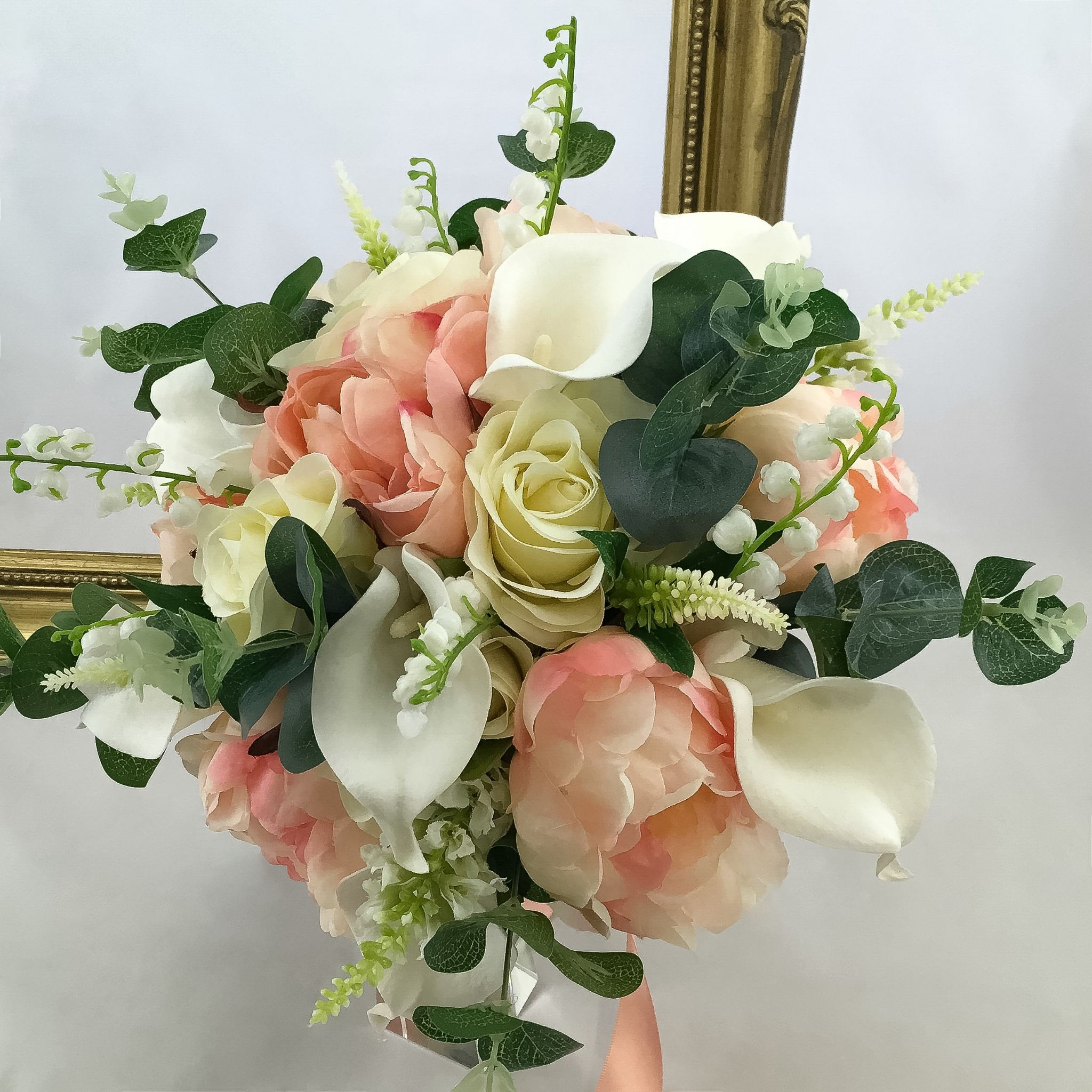Artificial Wedding Bouquets.Bridal Bouquet Mixed Peony Hand Tied Artificial Wedding Flowers