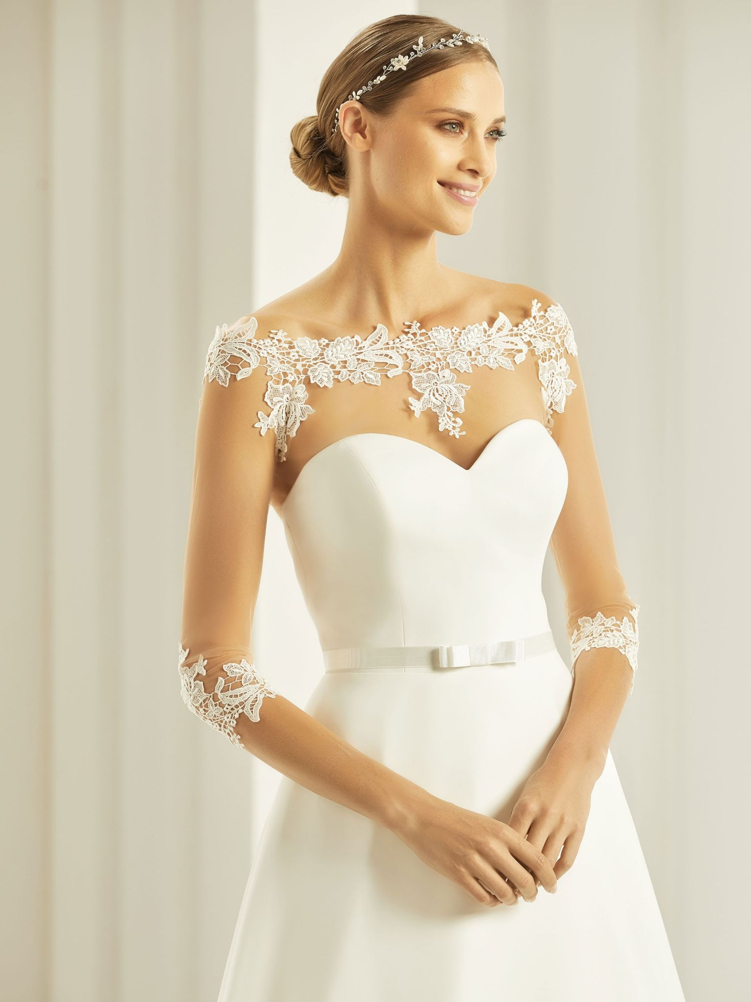 99d55ab7 Christina stretch tulle bridal bolero, lace wedding bolero