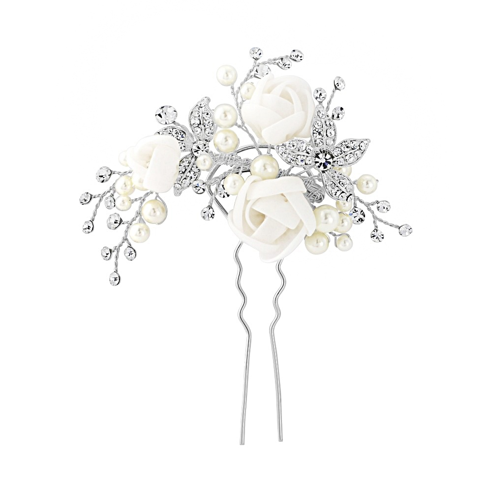 Clara Crystal and Pearl Bridal Hair Pin