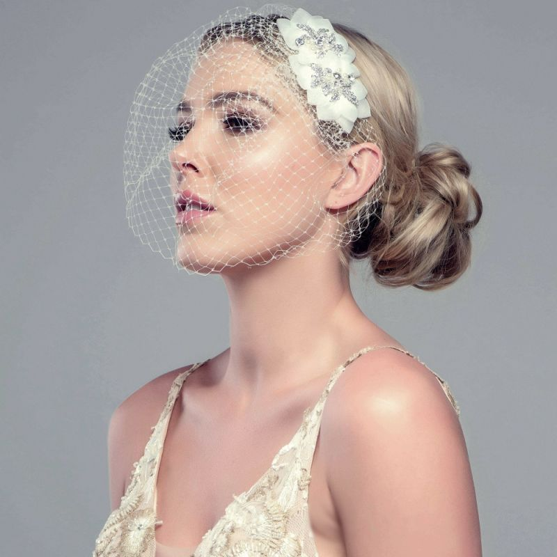 Flower Wedding Headpieces: Clarissa Veiled Flower Fascinator Bridal Headpiece Wedding
