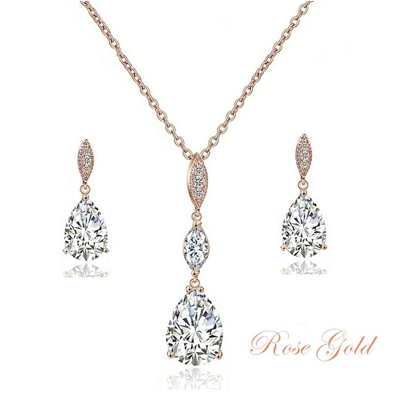 Cubic Zirconia Rose Gold Bridal Necklace Set