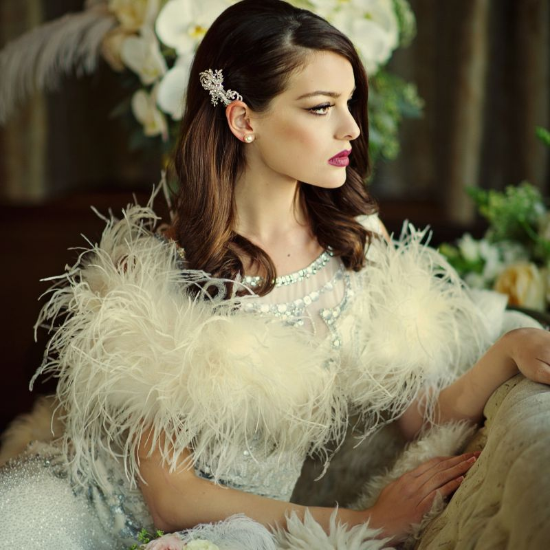 Dark Ivory Ostrich feather bridal wrap, wedding stole