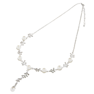 Eleonor Pearl and Crystal Wedding Necklace, Pearl Bridal Necklace