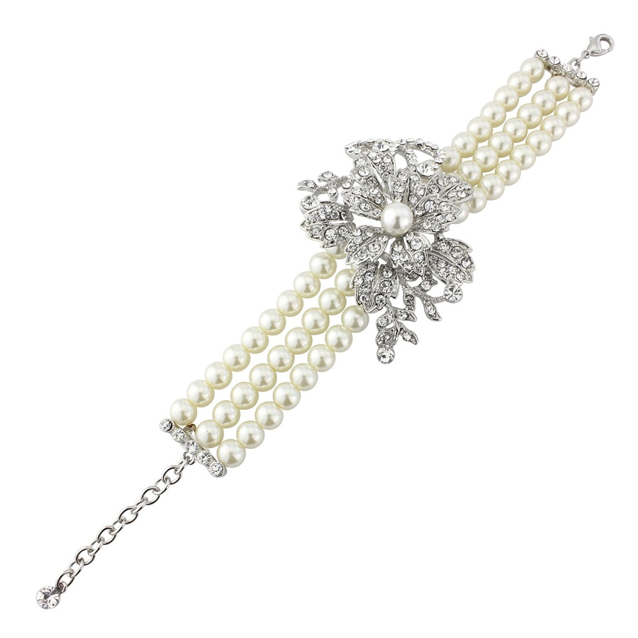 Iris Peal and Crystal Wedding Bracelet, Vintage Pearl Bracelet