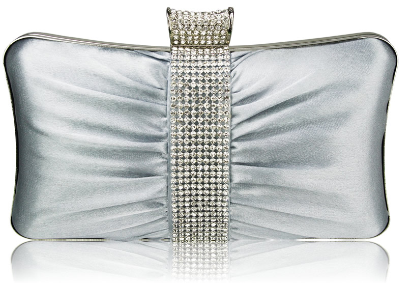Silver Crystal Clutch Bag, Silver Evening Bag
