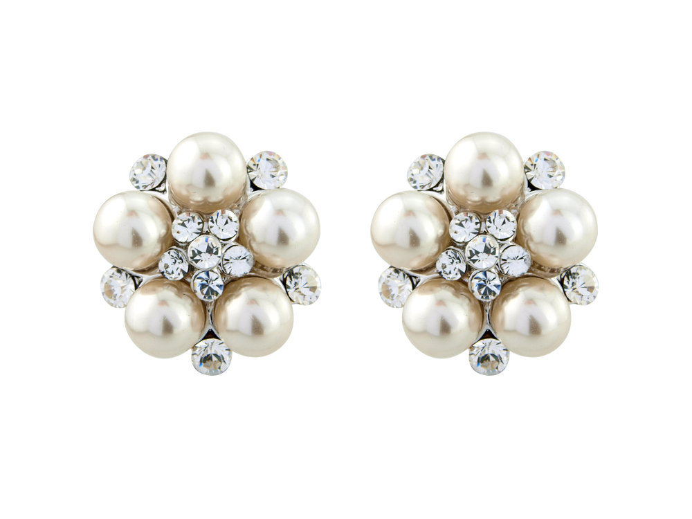 Swarovski crystal and pearl bridal earrings, pearl earrings