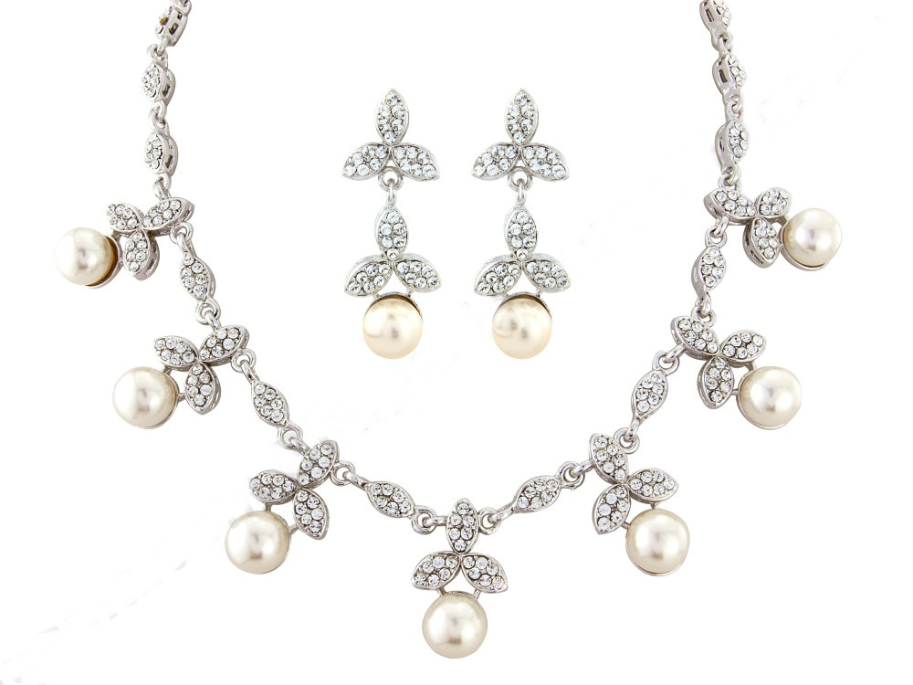 Cubic Zirconia Swarovski Pearl crystal  necklace and earring set