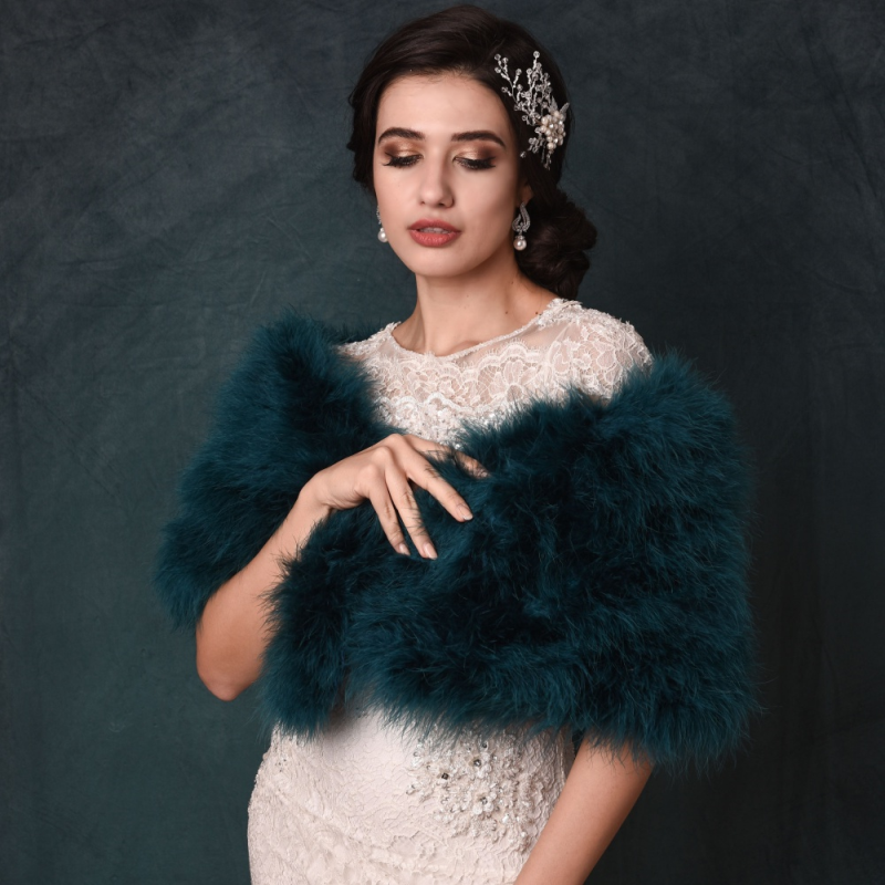 Teal Green marabou feather bridal stole, vintage bridal wrap